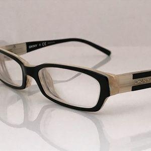 DKNY Women Eyeglasses Frame Black White Metal Plas